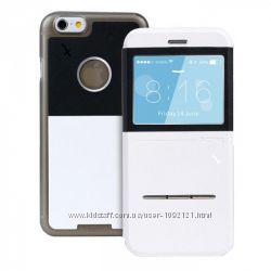 Чехол книжка Remax Elegant кожа для на iPhone 6 Plus синий и белый цвет