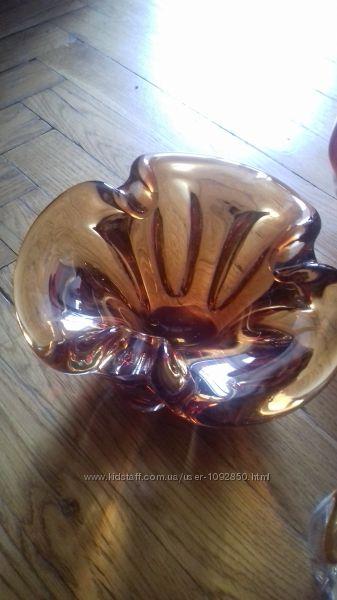 ваза стеклянная цветная ручной работы