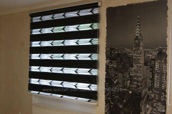 Рулонні штори системи День-ніч тканина з орнаментом