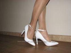 Классические белые туфли-лодочки для невесты нарядны 35-40