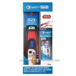Подарочный набор Электрическая зубная щетка  паста crest STAR WARS