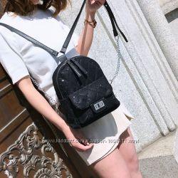Рюкзак женский бархатный. стеганный рюкзачек