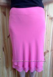 Летняя ярко-розовая юбка двухслойная до колена, 40-42 размера