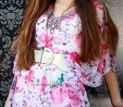 Накидка на купальник легкая блуза розового цвета с вышивкой бисером, бу