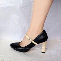 Кожаные черные бежевые туфли лодочки Мэри Джейн Respect, 39 размер