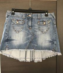 Джинсовая юбка маллет Candie&acutes плиссированная сзади, 38 размер