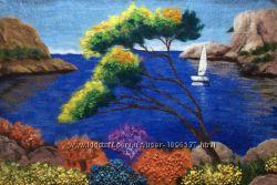 Картина из шерсти Остров Корфу