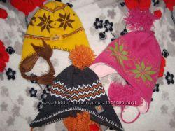шапка вязанная на флисе от 3 до 6 лет