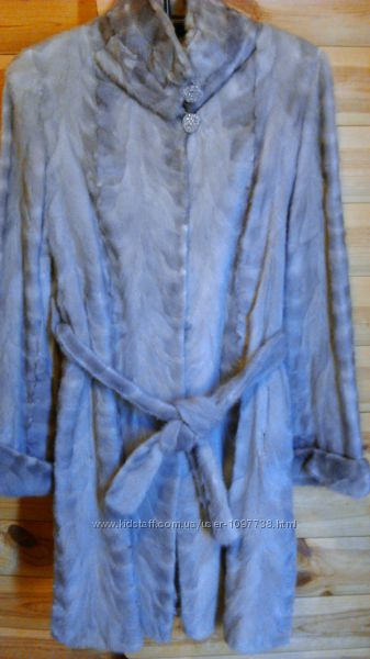 Шуба норковая серо-голубая р. 48-50