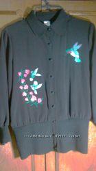 Кофта блуза рубашка с красивой вышивкой р. 46 черная