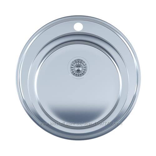 Мойка кухонная врезная круглая 490мм. с евросифоном