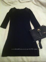 Стильное платье со вставками из кожзама М Л