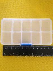 Пластиковая коробка для бижутерии и мелких деталей на 10 слотов