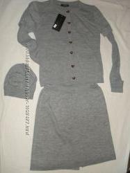 Трикотажный костюм новый кофта, юбка, шапка