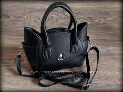 Хит женская сумочка котик черная, серебро