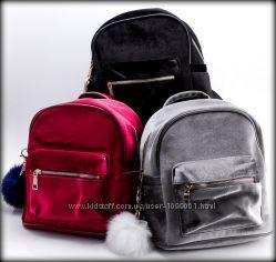 Бархатный рюкзак городской в стиле Zara женский. Вельвет