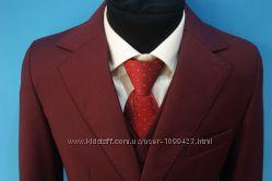 Школьная форма для мальчика, цвет бордовый пиджак брюки жилет