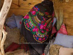 Украинский платок с бахромой, размер 125х125