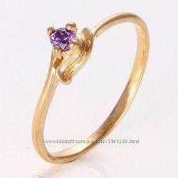 Красивое колечко с аметистом, покр. золото 18К Gold Filled, р. 17 P866
