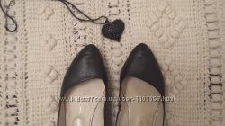 Балетки кожаные черные