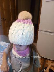 Комплект шапочка хомутик. Ручная работа