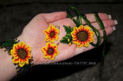 украшение ручной работы комплект браслет, серьги, ожерелье