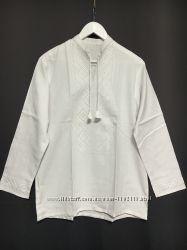 Вишиванка чоловіча з довгим та коротким рукавом біла по білому  - Вышиванка