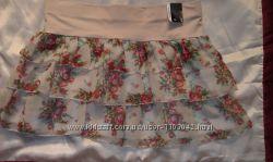 юбка бежевая в цветочек 44р