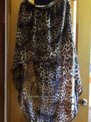 Леопардовая шифоновая юбка 40 размер