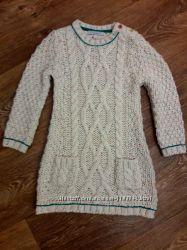 Теплое вязаное платье на 2-3 года