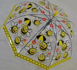 Модный, прозрачный детский зонтик-грибок