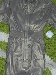 Новая кожаная куртка-тренч размер S