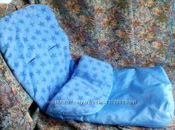 Теплый флисовый конверт для коляски санок