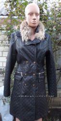 Пальто, из кож-заменителя, демисезонное со сьемным меховым воротником, мех