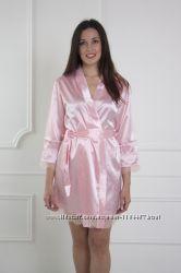 Шелковый комплект ночная рубашка халатик