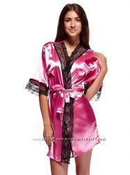 Шикарный комплект халатик ночная рубашка цвет розовый