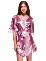 Шикарный комплект халатик ночная рубашка цвет фиолетовый