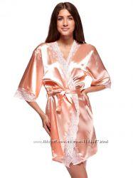 Шикарный комплект халатик ночная рубашка цвет абрикосовый
