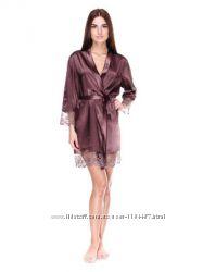 Шикарный комплект халатик ночная рубашка цвет шоколад