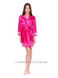 Шикарный комплект халатик ночная рубашка малиновый