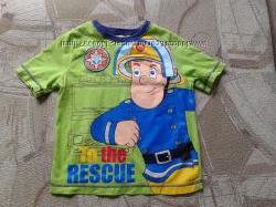 Футболка пожарник Сэм на 1-2 года