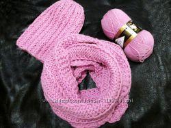 модная мягкая вязаная шапка Бини крупной вязки розовая голубая