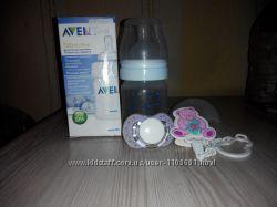 Бутылочка для кормления Avet 125 мл , пустышка