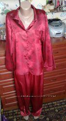 Bhs красно-бордовая атласная пижама 48-50р