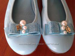 Blumarine vero cuoioиталия нежно голубые нарядные туфли со стразами 30р19с