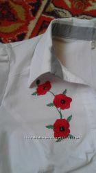 рубашка с вышитыми маками
