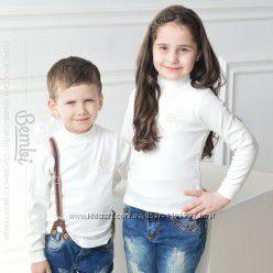 Гольф белый Бемби девочка-мальчик р. 92-104, 110 116, 122, 128, 134, 140, 146