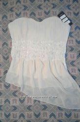 Новая нарядная блуза корсет, цвет айвори, р. S