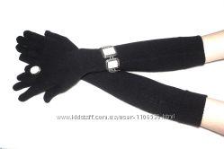 Перчатки длинные женские вязанные 50см