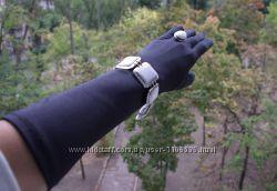 Перчатки атласные длинные черные